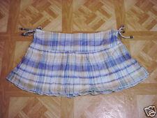 Junior Girls Blue/Beige Mini Plaid Bowed Sides Lined Skirt Size 13