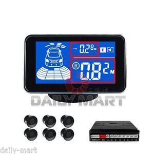 6 Sensors Rear Car LCD Display Kit Reversing Parking Radar Buzzer System