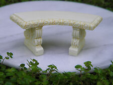 Miniature Dollhouse Fairy Garden Furniture ~ Ivory Resin Curved Bench ~ New