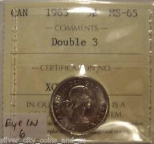 Canada Elizabeth II 1963 Doubled 3; Eye in 6 Five Cents - ICCS MS-65 (XCM-794)