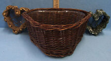 Heart Shaped Wicker Grapevine Baskets Dark Green Brown Plastic Lined Lot of 3