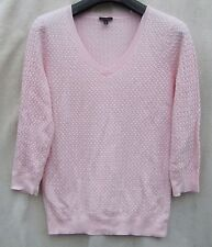 """TABLOTS Lightweight Pink Cable SPRING  """"V"""" Neck Cotton Simple Delicate Sweater M"""