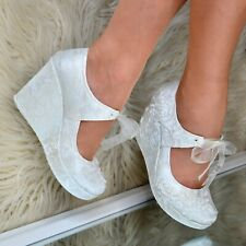 Ladies Bridal Wedge Heel Shoes Ivory LACE & PEARLS Wedding Mary Jane Platform