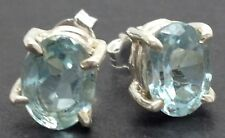 Blue Topaz Gemstone 8 X 6mm Oval Stud Earrings, Solid sterling silver, New. UK.