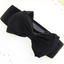 New Fashion Women Bowknot Buckle Waistband Waist Belt Elastic Bow Wide Stretch