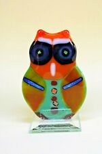 TALL FUSED ART GLASS OWL FIGURINE ORNAMENT HOME DECOR HANDMADE