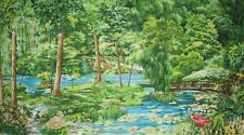 New Michael Miller A Summer Day Fabric Panel Retro Monet nature rainforest lake
