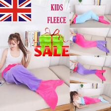 New Luxury Kids Mermaid Tail Blanket Soft Polar Fleece Children Sleeping Bags UK