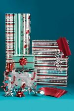 Luxury Teal Christmas Foil Wrapping Paper Roll Bows, Strung Gift Tag Ribbon Set