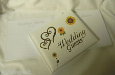 Wedding Party Ceremony Reception Gold Hearts ~Sunflower~ Summer Guest Book