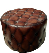 Handmade Vintage Bull Leather Ottoman Footstool Poufs Tuffed Round Home & Garden