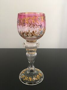 Antique Bohemian Moser Enamel Art Glass Goblet Wine Glass Cranberry Pink Marked