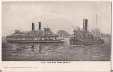 New Yorker Fire Boat Drill NY Harbor Ferry Firefighting UDB c1904 Illus Postcard