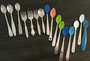 Vintage GERBER Nuk First Years Lot of 16 baby spoons Soft Tip Stainless