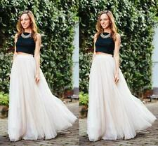 Multi 5 Layers Long Womens Tulle Skirt Princess Celebrity TUT Skirts Party Prom