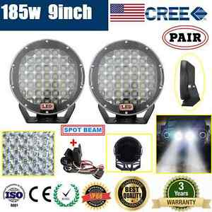 2x 9inch 185W CREE LED DRIVING LIGHT OFFROAD SPOTLIGHT WORK 4WD LAMP+ WIRING KIT