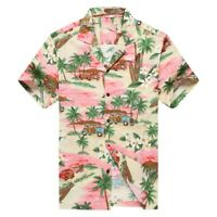 Made in Hawaii Men Hawaiian Aloha Shirt Luau Cruise Party Plumeria Palm Pink