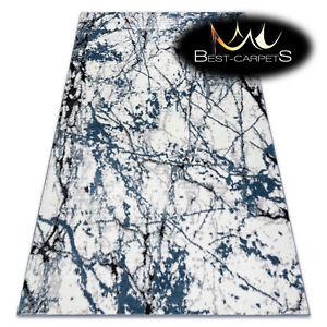 Amazing Designer structural soft Rug 'COZY' Marble blue white black Best Quality