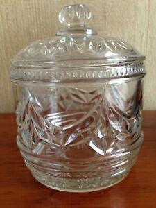 Vintage Pressed Glass Storage Jar with Lid