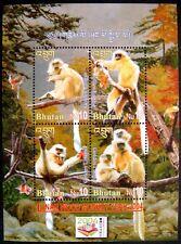 2004 MNH BHUTAN YEAR OF THE MONKEY STAMPS SHEET WILD ANIMALS PRIMATE MONKEY APE