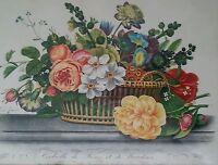 Antique botanical engraving Jean-Louis Prevost Corbeille de Roses et de Narcisse
