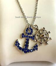 Silver Plated Crystal Anchor Necklace Blue Nautical Boat Ship Wheel Helm Island