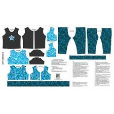 Andover Let's Pretend A 7626 T Turquoise/Black Doll Clothes Cotton Fabric