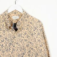 Vintage 90s ABSTRACT Patterned Short Sleeve Party Shirt White Beige   XL