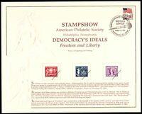 1991 StampShow APS Philadelphia, SC131 souvenir card SCCS: B-151 with cancel