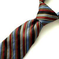 "Robert Talbott Mens Striped Tie Blue Black Red Yellow Hand Sewn Finest Silk 57"""