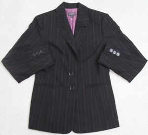 Classiques Entier Black Lined Jacket Coat Women's Woman 8 Eight Striped 2-Button
