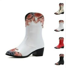 4 Colors Women Pointy Toe Snakeskin Patchwork Chelsea Cowboy Ankle Boots 34/43 L