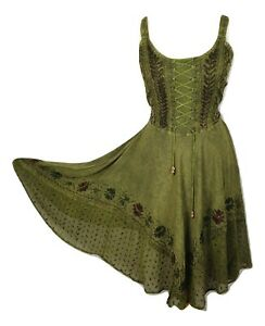 Midi Boho Dress Casual Embroidered Rayon Corset Dark Henna One Size 10 12 14 16