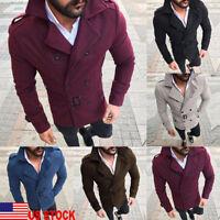 Men Winter Wool Warm Trench Reefer Jacket Double Breasted Dress Peacoat Overcoat