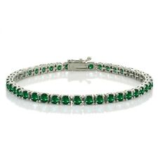 Sterling Silver 8.5ct Created Emerald 4mm Round Tennis Bracelet