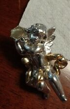 Beautiful Vintage Large Sterling Angel Cupid  3D Brooch Pendant