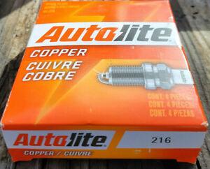 FOUR(4) Autolite 216 Spark Plug BOX 14mm Thd 13/16 Hex 7/16 Reach Non-Resistor