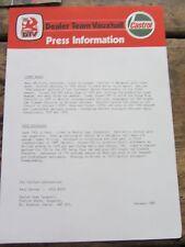 Vintage Original Team Vauxhall / Castrol Press 1980 Info leaflet - McRae - Manx