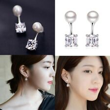 1Pair Women Silver Elegant Pearl Inlaid Zircon Ear Stud Earrings Ladies Jewelry