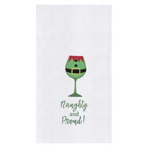 Naughty and Proud Christmas Elf Humorous Embroidered Flour Sack Kitchen Towel
