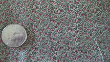 "Cotton Fabric TINY RED/BLACK FLORAL ON TAN Marti Michell 2/3 Yd/42"" Wide"