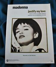 MADONNA JUSTIFY MY LOVE SHEET MUSIC US 1990 WARNER BROS PUBLICATIONS