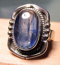 925 silver cabochon blue kyanite stone ring UK N½/US 7