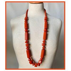 Vintage Orange Chunky Plastic Beads Beaded Necklace Mod Go Go 60s