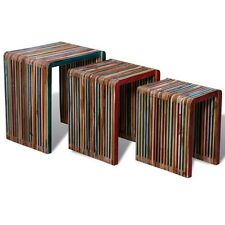 Set of 3 Wood Nesting Tables Colourful Reclaimed Teak Timeless Multicolour