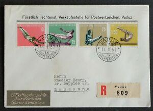 LIECHTENSTEIN 1957: FDC Sportserie IV per R Vaduz–Lausanne