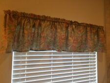 "Gorgeous Elegant Flower Floral Valance 108 X 16"" green/gray burgundy Fits 1"" rod"