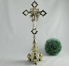 Standkreuz Altarkreuz Messing Kreuz Kruzifix Jesus 51 cm Korpus abnehmbar NEU