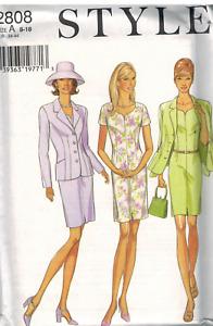 2808 UNCUT Style Vintage Pattern Misses Jacket Vest Skirt Suit Career Sewing OOP