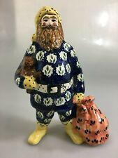 "Bunzlauer Keramik Polish Pottery Santa Claus Figurine 9"" Toys Boleslawiec Poland"